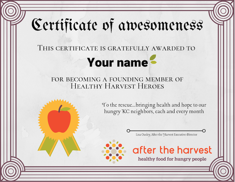 Hope & healthy food on the table each month – After the Harvest