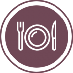 Purple fork plate knife icon