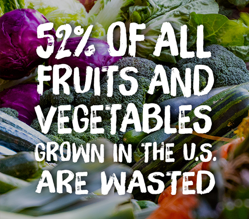 52% of all fruits and vegetables grown in the U.S. are wasted