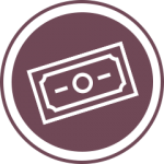 Purple dollar bill icon