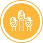Yellow three hands icon