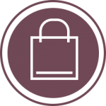 Purple shopping bag icon